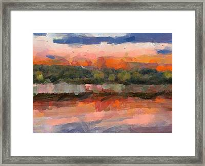 Behind The Forest Sunset Framed Print by Yury Malkov