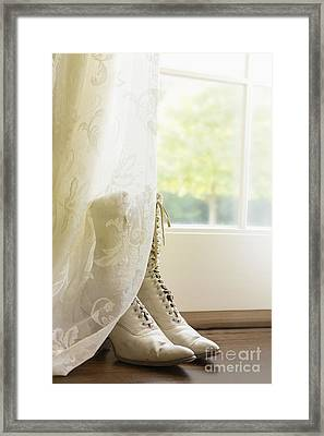 Behind The Lace Curtain Framed Print by Margie Hurwich