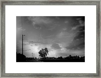 Behind The Tree In Black And White Framed Print