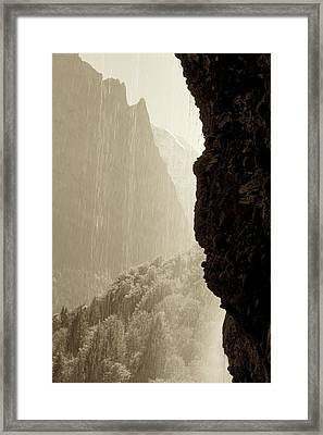 Behind The Waterfall Framed Print