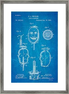 Beidler Jack-a-lantern Patent Art 1889 Blueprint Framed Print by Ian Monk