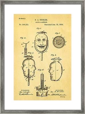 Beidler Jack-a-lantern Patent Art 1889 Framed Print by Ian Monk