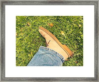 Beige Suede Shoe Framed Print by Dutourdumonde Photography