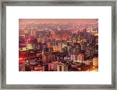 Beijing Buildings Density Framed Print by Tony Shi Photography