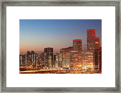 Beijing Central Business District Skyline At Sunset Framed Print by Fototrav Print