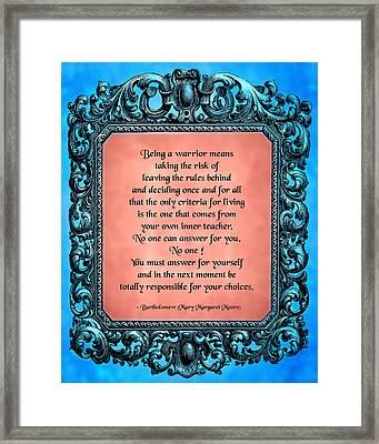 Being A Warrior Framed Print