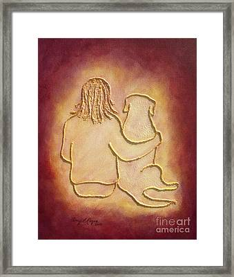 Being There 3 - Dog And Friend Framed Print