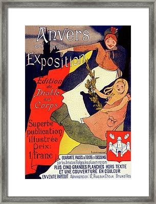 Belgian Poster For Anvers Et Son Exposition Framed Print by Liszt Collection