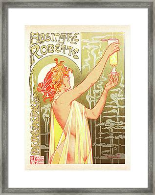 Belgian Poster For L Absinthe Robette Framed Print by Liszt Collection