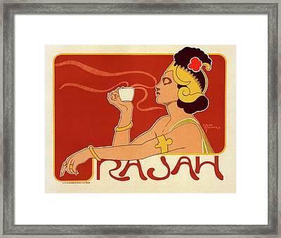 Belgian Poster For Le Café Rajah Framed Print by Liszt Collection