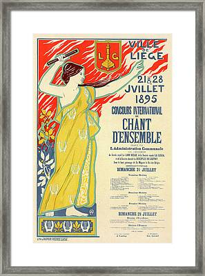 Belgian Poster For Le Concours International De Chant Framed Print by Liszt Collection