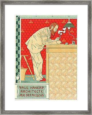 Belgian Poster For M. Paul Hankar Framed Print by Liszt Collection