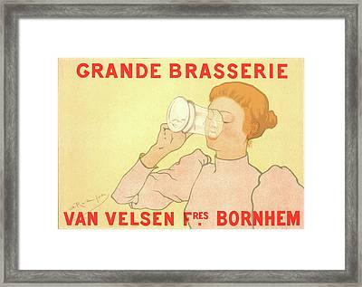 Belgian Poster. Grande Brasserie Van Velsen Frères Framed Print by Liszt Collection