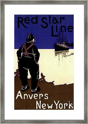 Belgian Poster Red Star Line Framed Print by Liszt Collection