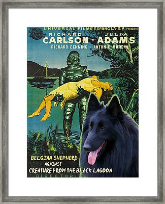 Belgian Shepherd Art Canvas Print - Creature From The Black Lagoon Movie Poster Framed Print by Sandra Sij