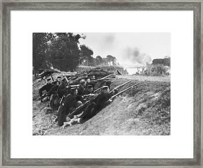 Belgian Soldiers In Ambush Framed Print
