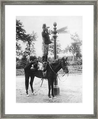 Belgium Calvary Scout Framed Print by Underwood Archives
