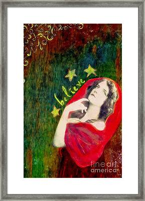 Framed Print featuring the mixed media Believe by Desiree Paquette