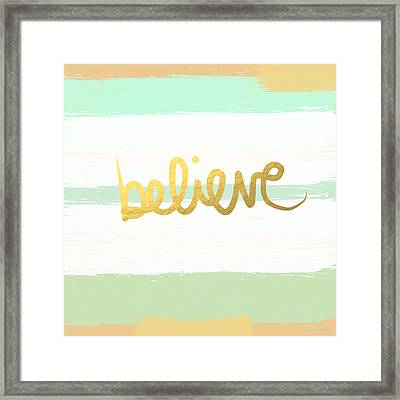 Believe In Mint And Gold Framed Print by Linda Woods