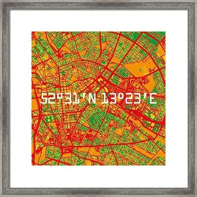 Berlin Map Framed Print by Big City Artwork