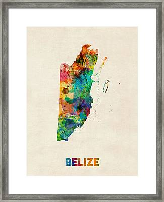 Belize Watercolor Map Framed Print by Michael Tompsett
