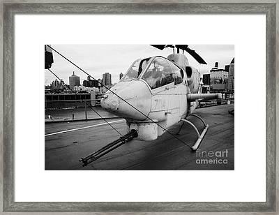 Bell Ah1j Ah 1j Sea Cobra On Display On The Flight Deck Of The Uss Intrepid New York Framed Print by Joe Fox