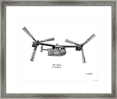 Framed Print featuring the drawing Bell-boeing Cv-22b Osprey by Arthur Eggers