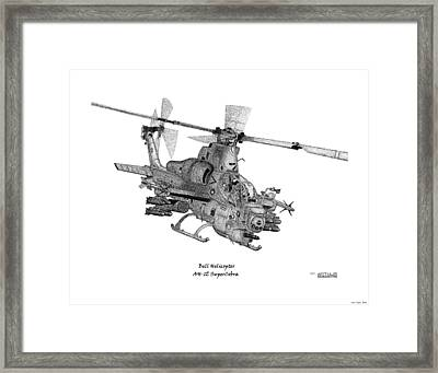 Framed Print featuring the drawing Bell Helicopter Ah-1z Supercobra by Arthur Eggers