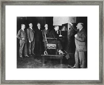 Bell Labs Talks To Hoover Framed Print by Underwood Archives