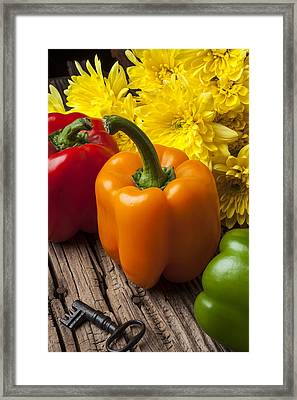 Bell Peppers And Poms Framed Print by Garry Gay