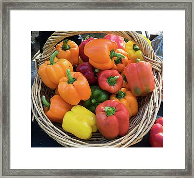Bell Peppers For Sale At Street Market Framed Print by Panoramic Images