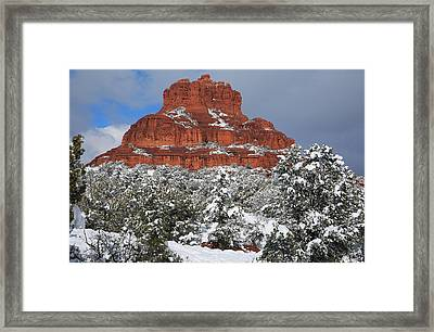 Bell Rock With Snow Framed Print by Donna Kennedy