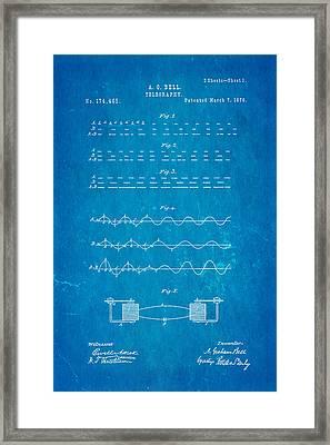 Bell Telephone Patent Art 1876 Blueprint Framed Print