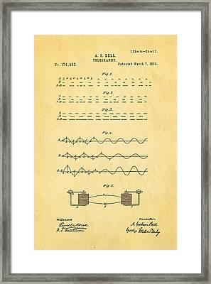 Bell Telephone Patent Art 1876 Framed Print