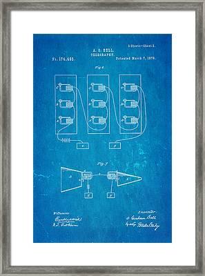 Bell Telephone Patent Art 2 1876 Blueprint Framed Print