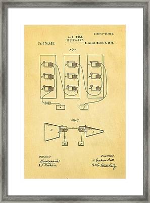 Bell Telephone Patent Art 2 1876 Framed Print