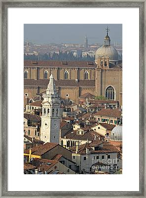 Bell Tower Of Santa Maria Formosa And Red Tiled Roofs Framed Print