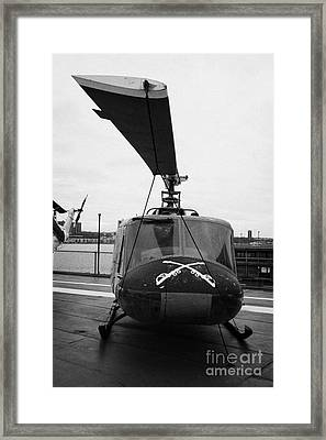Bell Uh 1a Uh1 1 Huey On Display On The Flight Deck At The Intrepid Sea Air Space Museum Framed Print by Joe Fox