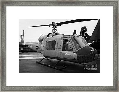 Bell Uh 1a Uh1 Uh1a 1 Huey On Display On The Flight Deck At The Intrepid Sea Air Space Museum Framed Print