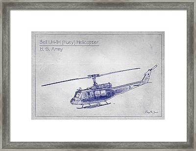 Bell Uh-1h Huey Helicopter  Framed Print by Barry Jones
