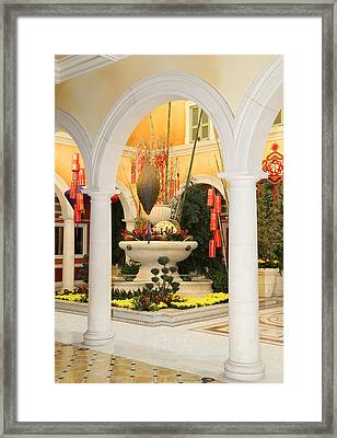 Framed Print featuring the photograph Bellagio Chinese Display by Michael Hope