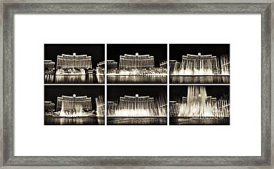 Bellagio Fountain Dance Collage Framed Print by John Rizzuto