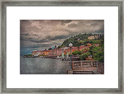 Bellagio In The Rain Framed Print by Hanny Heim