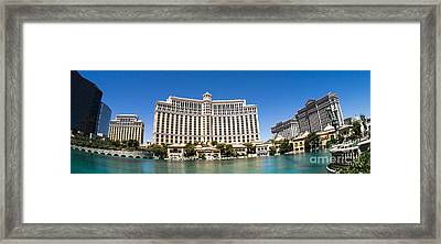 Bellagio Resort And Casino Panoramic Framed Print by Edward Fielding