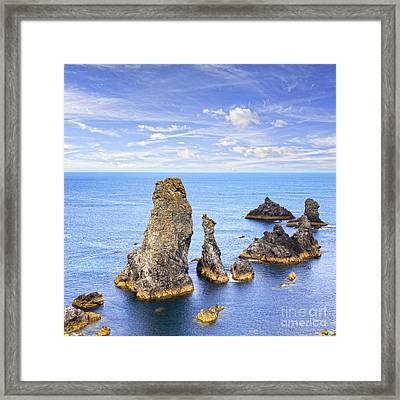 Belle Ile Brittany France Les Aiguilles De Port Coton Framed Print by Colin and Linda McKie