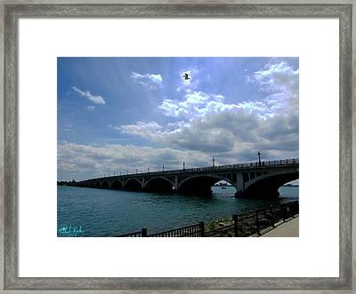 Belle Isle Bridge Detroit Framed Print by Michael Rucker