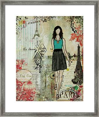 Belle Ville Belle Dame French Inspired Mixed Media Abstract Artwork Framed Print by Janelle Nichol