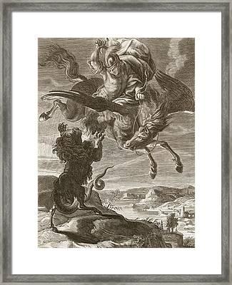 Bellerophon Fights The Chimaera, 1731 Framed Print by Bernard Picart