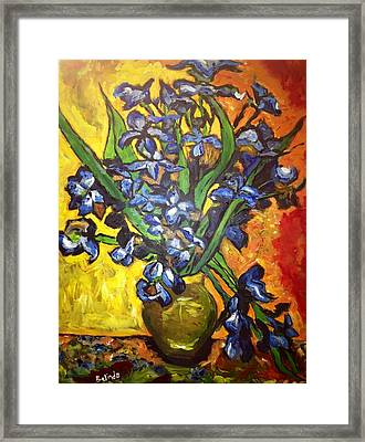Framed Print featuring the painting Belle's Pot Of Fiery Irises by Belinda Low