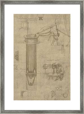 Bellows Perspectograph With Man Examining Inside From Atlantic Codex Framed Print by Leonardo Da Vinci
